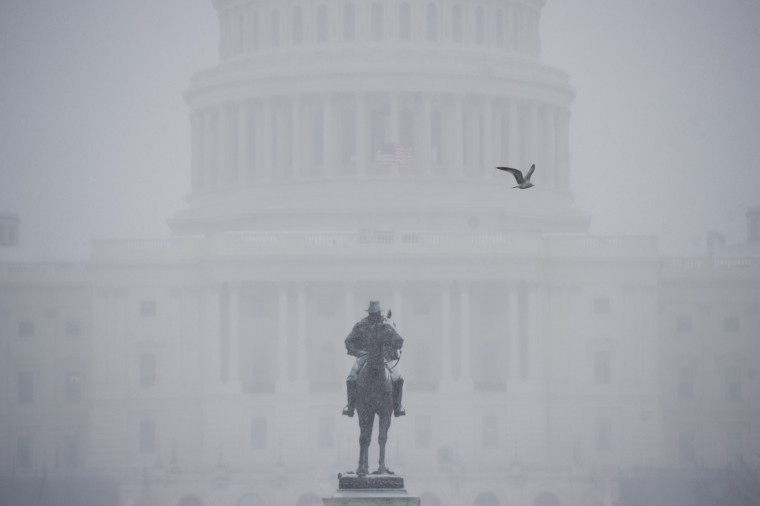 A bird flies past the US Capitol in Washington, DC, January 21, 2014, as snow falls during a storm. The northeastern United States hunkered down Tuesday for a major snowstorm that forecasters warned could leave as much as one foot (30 centimeters) of snow in some places. Downtown Washington fell virtually silent after the federal government, seeing the swift-moving cold front approaching, closed its doors and told civil servants to stay home. Many offices and schools followed suit, as 20 mile (32 kilometer) per hour winds whipped the falling snow through the unusually quiet streets. Enough snow was expected to fall on the US capital to turn the evening rush hour into a Beltway traffic nightmare, as the storm churned its way into New York and the northeastern New England states. (Saul Loeb/AFP/Getty Images)