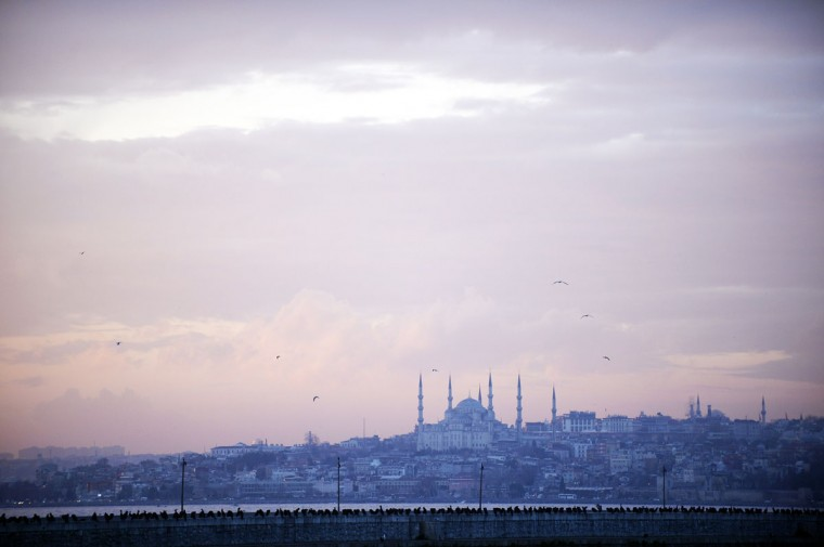 Birds perch as the Blue Mosque dominates the skyline during sundown on January 23, 2014, in Istanbul. (Bulent Kilic/AFP/Getty Images)