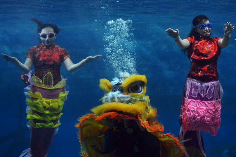 Indonesian performers dressed as mermaids wearing traditional Chinese cheongsam dress and a lion perform underwater in a special program celebrating the Lunar New Year at Jakarta's Ancol park on January 31, 2014. The Lunar New Year of the Horse falls on January 31. (Romeo Gacard/AFP/Getty Images)