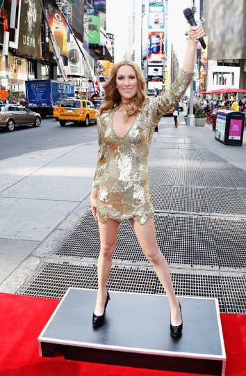 Madame Tussauds wax figure of singer Celine Dion on display in Times Square after receiving a musical welcome from famed Late Show's Gospel Choir, as seen on the Late Show with David Letterman on October 8, 2013 in New York City. ( Cindy Ord/Getty Images)
