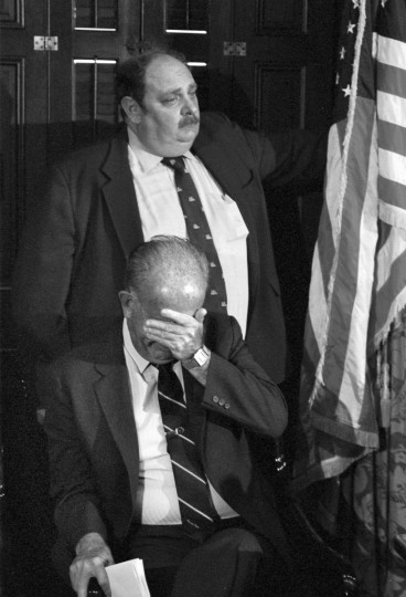 "In May of 1986 then Mayor William D. Schaefer gets emotional at a press conference concerning the sinking of the Pride of Baltimore off the coast of Puerto Rico. In the background is Schaefer's spokesman Christopher ""Chris"" Brown. (Paul Hutchins/Baltimore Sun)"