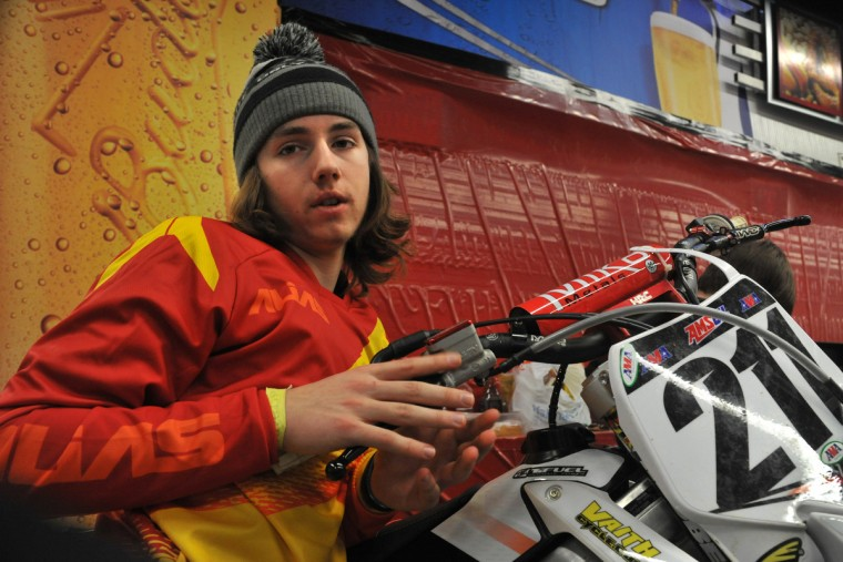 Brett McLaud, 17, of Cedar Rapids, IA, was interviewed between races at the Baltimore Amateur AMSOIL Arenacross event at the Baltimore Arena. (Amy Davis/Baltimore Sun)