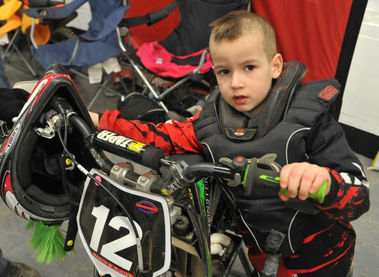 Seth Wallace, 5, of Nicholson, PA has been racing since last April. He was competing in the Baltimore Amateur AMSOIL Arenacross event at the Baltimore Arena. (Amy Davis/Baltimore Sun)