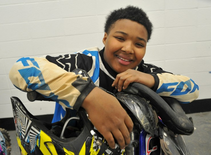Geronimo Woodard, 11, of Baltimore County, has been racing since he was 4 years old. He was racing with two of his siblings in the Baltimore Amateur AMSOIL Arenacross event at the Baltimore Arena. (Amy Davis/Baltimore Sun)