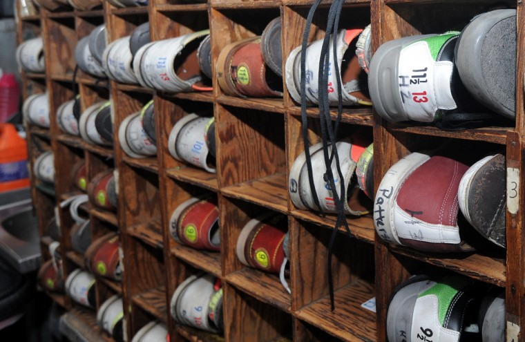 Bowling shoes are stored in square compartments at the Patterson Bowling Center. (Algerina Perna/Baltimore Sun)