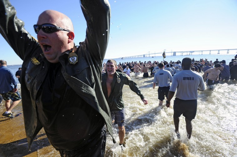 The 18th annual MSP Polar Bear Plunge at Sandy Point State Park to benefit the Special Olympics Maryland. On Friday members of local law enforcement agencies go into the ice cold Cheaspeake Bay water at noon. (Kenneth K. Lam/Baltimore Sun)