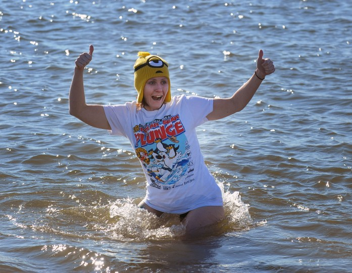 "The 18th annual MSP Polar Bear Plunge at Sandy Point State Park to benefit the Special Olympics Maryland. On Friday 41 ""Super Plungers"" including Kristine Eckstein, of Perryville, plunge into the ice cold Cheaspeake Bay water every hour for 24 hours. (Kenneth K. Lam/Baltimore Sun)"