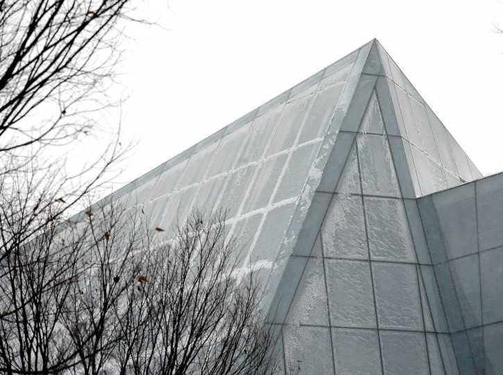 A covering of ice formed on the Maryland Institute College of Art's Brown Building on Mt. Royal Avenue during a snow storm in the city. (Barbara Haddock Taylor/Baltimore Sun)