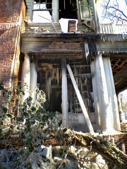 Icicles can be seen both inside and outside of the burnt structure a day following the 3-alarm fire that struck the late-18th century home. (Karl Merton Ferron/Baltimore Sun)