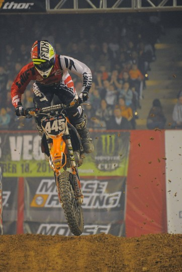 Chad Wages, of Frederick, Md., lands as he competes in the AMSOIL Arenacross Lites East race at Baltimore Arena, Jan. 11, 2014. (Karl Merton Ferron/Baltimore Sun Photo)