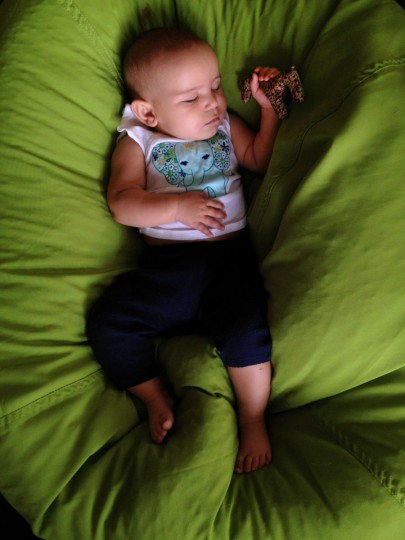 Karah Ferron sleeps on a bean bag at her aunt's summer home on July 21, 2013. (Karl Merton Ferron/Baltimore Sun Staff)