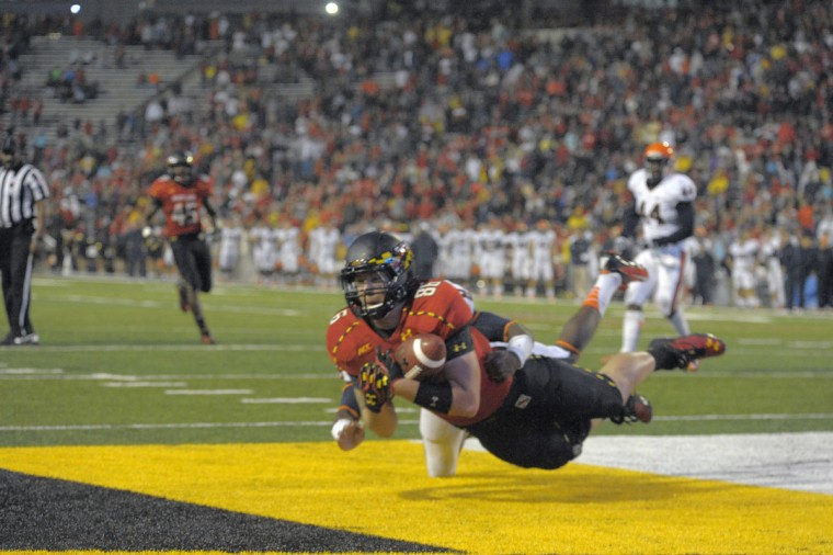 HONORABLE MENTION: Dave Stinebaugh College: Maryland Position: Tight end Year: Senior High school: Perry Hall Hometown: Baltimore 2013 recap: Stinebaugh had by far his best season as a Terp, catching a career-high 15 passes for 204 yards and three touchdowns, including a TD reception in the Military Bowl vs. Marshall. Photo credit: Karl Merton Ferron/Baltimore Sun