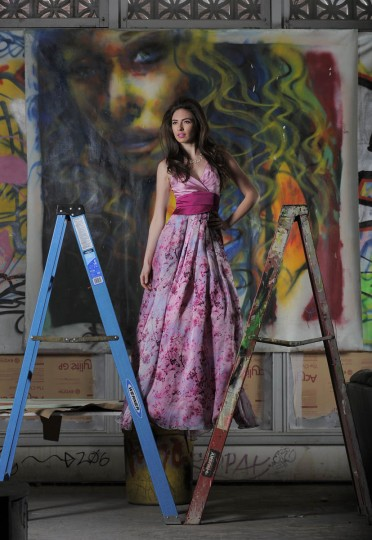 Erin in Theia gown, Jones & Jones, $1,295, Kate Spade necklace, Handbags in the City, $148. (Lloyd Fox/Baltimore Sun staff)