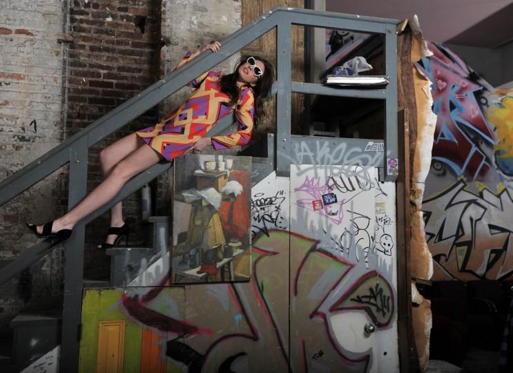 Naven dress, Katwalk Boutique, $164; L.K. Bennett heels, $395; Tom Ford sunglasses, $440, Handbags in the City, $595. (Lloyd Fox/Baltimore Sun staff)