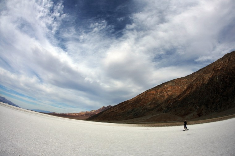 The salt flats of Badwater Basin in California's Death Valley, pictured on November 19, 2006. At 282 feet below sea level, Badwater Basin is the lowest point in North America. Two to four thousand-years ago the basin was the site of a 30-foot lake that later evaporated, leaving a one to five-foot layer of salt in its wake. The largest national park in the US, comprises more than 3.3 million acres of desert wilderness. (AFP PHOTO/GABRIEL BOUYS)