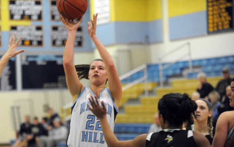 River Hill's Julia Collins puts up a shot at the hoop against Mt. Hebron during a girls basketball game at River Hill High School on Wednesday, Jan 29. (Photo by Brian Krista/BSMG)