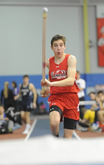 Glenelg's Calvin Pitney sprints down the runway as he makes an attempt in the boys pole vault competition during the Howard County indoor track championships at Prince George's Sports & Learning Complex in Landover on Monday, Jan 27. (Photo by Brian Krista/BSMG)