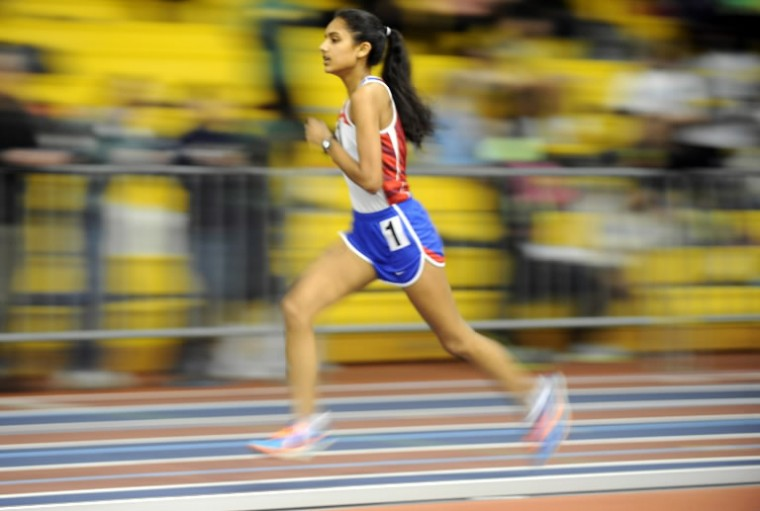 Centennial's Shreya Nalubola runs alone on her way to a decisive victory in the girls 3200 meter run during the Howard County indoor track championships at Prince George's Sports & Learning Complex in Landover on Monday, Jan 27. (Photo by Brian Krista/BSMG)