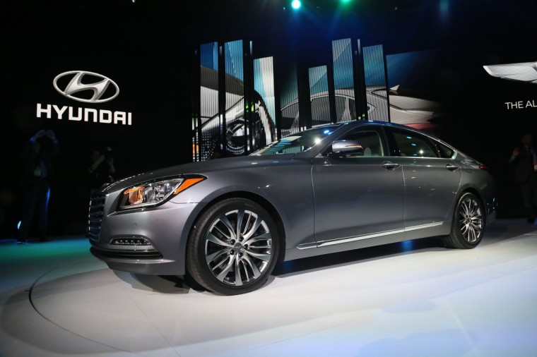 The 2015 Hyundai Genesis is revealed during the the North American International Auto Show held at the Cobo Center in Detroit. (Kimberly P. Mitchell/Detroit Free Press/MCT)