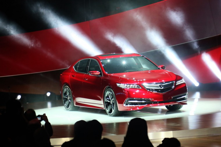 The 2015 Acura TLX is revealed during the 2014 North American International Auto Show held at Cobo Center in downtown Detroit. (Kimberly P. Mitchell/Detroit Free Press/MCT)