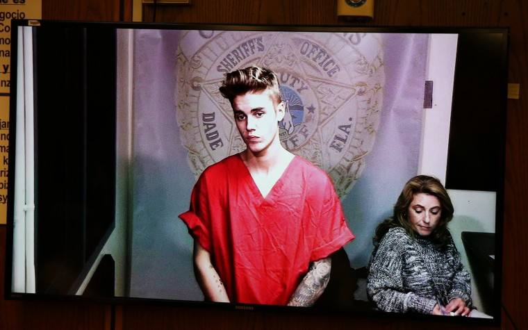 Justin Bieber appeared briefly in front of Judge Joseph Farina, via video, clad in red jail-issued scrubs at Miami-Dade Circuit Court in Florida, Ja. 23, 2014. Bond was set at $2,500. (Walter Michot/Miami Herald/MCT)