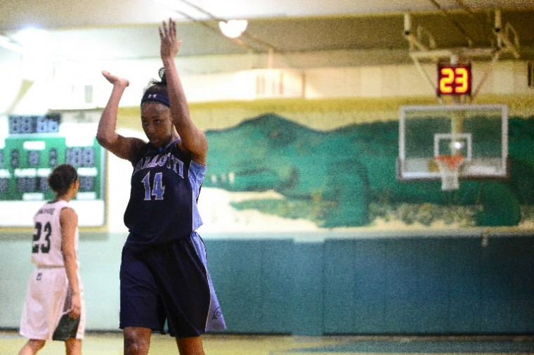Pallotti's Beverly Ogunrinde celebrates after her team drew a foul against Seton Keough during a girls basketball game at Seton Keough on Jan. 29. (Photo by Matt Hazlett/BSMG)