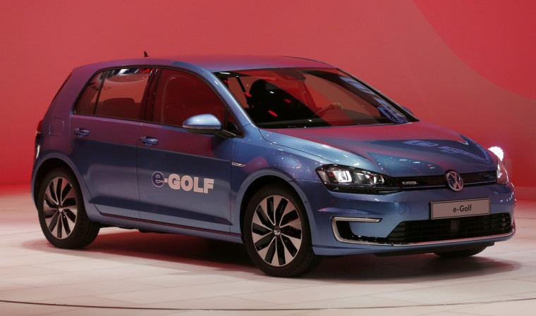The Volkswagen e-Golf electric vehicle is displayed during the press preview day of the North American International Auto Show in Detroit, Michigan. (Rebecca Cook/Reuters)