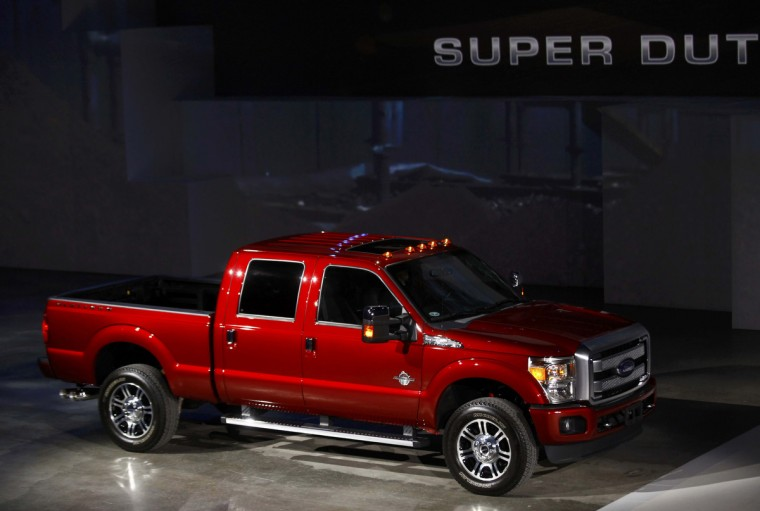 A Ford Super Duty crew cab, diesel powered pickup truck is displayed during the press preview day of the North American International Auto Show in Detroit, Michigan January 13, 2014. (Joshua Lott/Reuters photo)