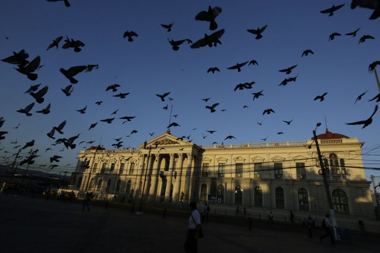 Pigeons fly near the National Palace in San Salvador January 31, 2014. El Salvador will hold its presidential elections on February 2. (REUTERS/Henry Romero)
