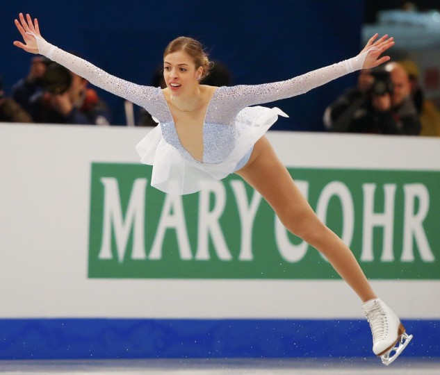 Carolina Kostner of Italy performs during the Ladies Short Program of the ISU European Figure Skating Championships in Budapest. (Laszlo Balogh/Reuters)