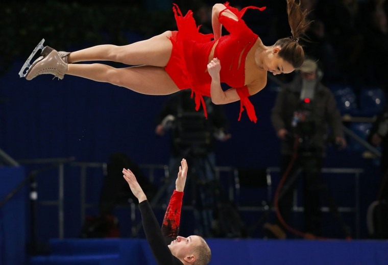 Mari Vartmann and Aaron Van Cleave of Germany perform the Pairs Short Program at the ISU European Figure Skating Championships in Budapest, January 17, 2014. REUTERS/Laszlo Balogh