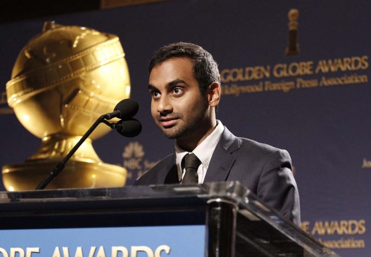 Golden Globes: Actor Aziz Ansari speaks during the announcement of nominations for the 71st annual Golden Globe Awards in Beverly Hills, Calif., on December 12, 2013. The awards will be presented on January 12, 2014. (REUTERS/Jonathan Alcorn)