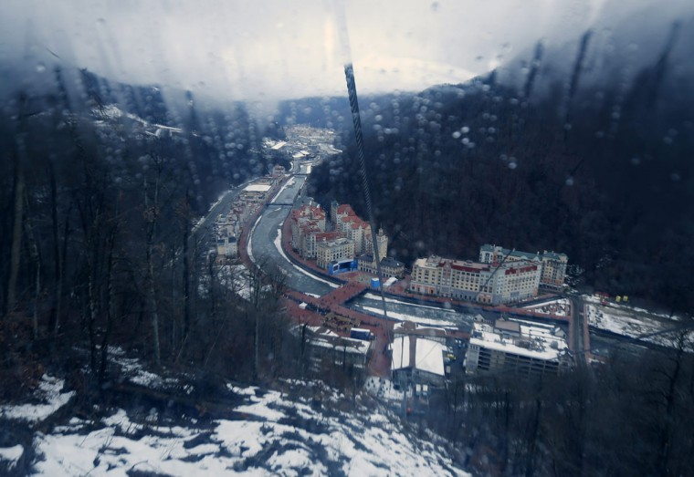 The town of Rosa Khutor is viewed from an ascending gondola as preparations continue for the 2014 Winter Olympic Games held in Sochi January 31, 2014. (REUTERS/Mike Blake)