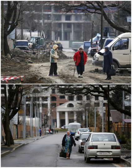 A combination of two pictures shows the development of construction within the last eleven months in the village of Krasnaya Polyana near Sochi, January 30, 2014. Picture on the top was shot in February 2013. Sochi will host the 2014 Winter Olympic Games from February 7 to 23.