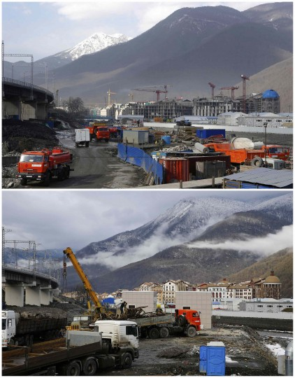 A combination of two pictures shows the development of construction within the last eleven months in the village of Krasnaya Polyana near Sochi, January 30, 2014. Picture on the top was taken in February 2013. Sochi will host the 2014 Winter Olympic Games from February 7 to 23.