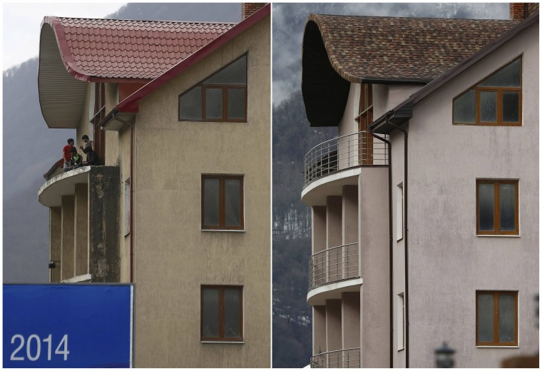 A combination of two pictures shows the development of construction within the last eleven months in the village of Krasnaya Polyana near Sochi, January 30, 2014. Picture on the left was taken in February 2013. Sochi will host the 2014 Winter Olympic Games from February 7 to 23.