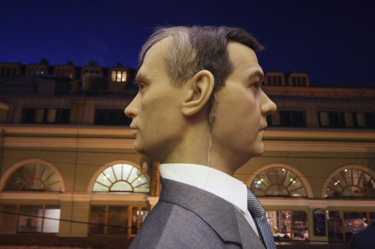 A sculpture of Russia's President Dmitry Medvedev (R) and Prime Minister Vladimir Putin at a wax museum in St. Petersburg February 9, 2012. (Reuters)