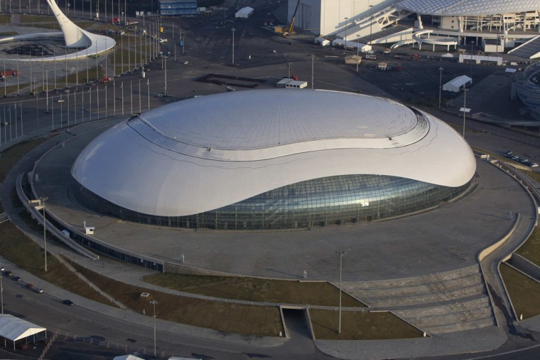 "An aerial view from a helicopter shows the ""Bolshoy"" Ice Dome at the Olympic Park in the Adler district of the Black Sea resort city of Sochi, December 23, 2013. Sochi will host the 2014 Winter Olympic Games in February. Picture taken December 23, 2013."
