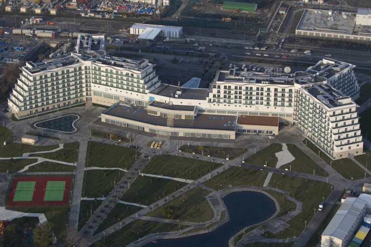 An aerial view from a helicopter shows AZIMUT Hotel Resort and SPA Sochi in the Adler district of the Black Sea resort city of Sochi, December 23, 2013. Sochi will host the 2014 Winter Olympic Games in February. Picture taken December 23, 2013.