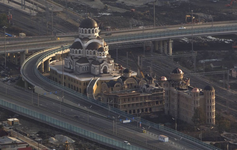 An aerial view from a helicopter shows an Orthodox cathedral under construction in Adler district of the Black Sea resort city of Sochi, December 23, 2013. Sochi will host the 2014 Winter Olympic Games in February. Picture taken December 23, 2013.
