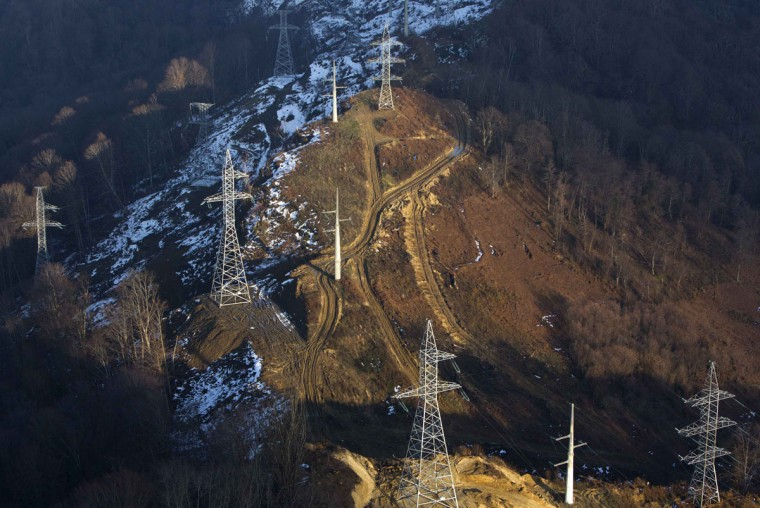 An aerial view from a helicopter shows a power line outside the Black Sea resort city of Sochi, December 23, 2013. Sochi will host the 2014 Winter Olympic Games in February. Picture taken December 23, 2013.