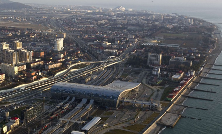 "An aerial view from a helicopter shows a newly-built railway station ""Adler"" in the Black Sea resort city of Sochi, December 23, 2013. Sochi will host the 2014 Winter Olympic Games in February. Picture taken December 23, 2013."