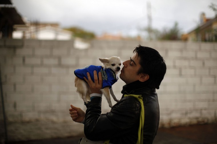 A man kisses his dog before his pet was blessed by a priest outside of San Anton church in Churriana, near Malaga, southern Spain, January 17, 2014. Pet owners bring their animals to be blessed every year on the day of San Anton, Spain's patron saint of animals. (REUTERS/Jon Nazca)