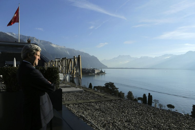 United States Secretary of State John Kerry looks out at Lake Geneva outside of his meeting room in Montreux January 22, 2014. Syria's government and its enemies come face to face on Wednesday for the first time as world powers try to set aside their own differences and push for an end to three years of civil war that is unsettling the entire Middle East. (REUTERS/Gary Cameron)