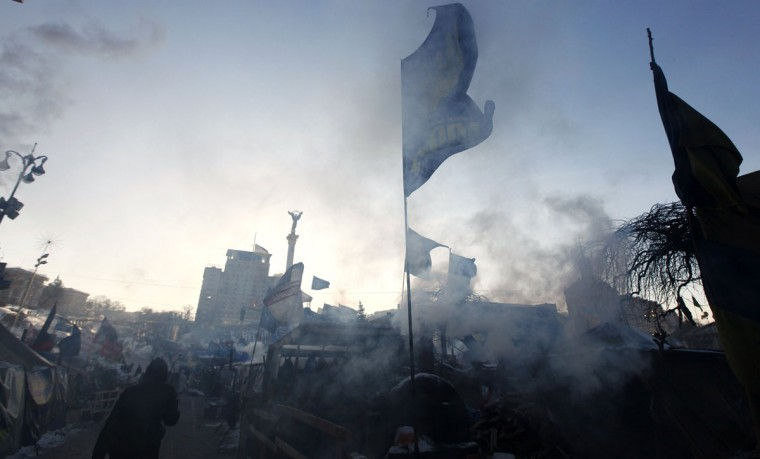 A general view of a camp erected by anti-government protesters to hold a rally, with the air temperatures around minus 20 degrees Celsius (minus 4 degrees Fahrenheit), in Independence Square in central Kiev, January 30, 2014. Ukrainian President Viktor Yanukovich has gone on sick leave with a respiratory ailment, his website said on Thursday, with the issue of a new prime minister still undecided. Yanukovich's prime minister, Mykola Azarov, resigned on Tuesday in the midst of mass street unrest and the president has yet to appoint a successor. Serhiy Arbuzov, who was Azarov's first deputy, has stepped in as interim prime minister. REUTERS/Vasily Fedosenko