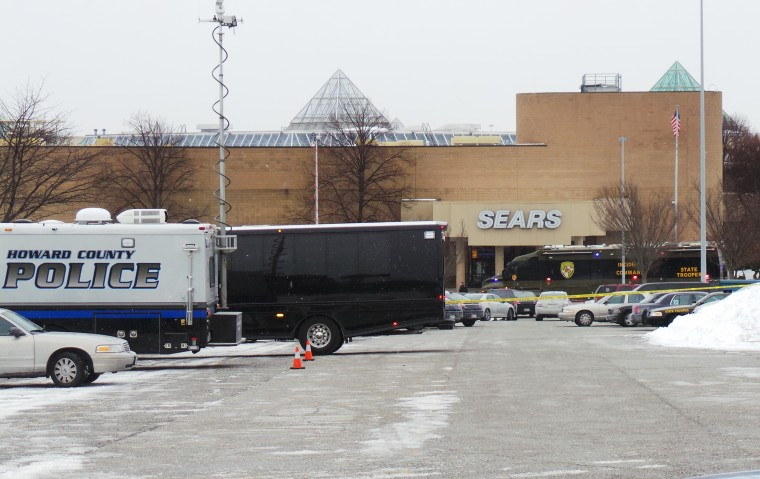 Police vehicles are seen at a mall in Columbia, Maryland, January 25, 2014. Three people died in a shooting at a large shopping center outside of Baltimore, Maryland, on Saturday, and police said they were allowing shoppers to leave the mall after determining there was no longer a threat. (REUTERS/DCMediagroup/Robert Brune)