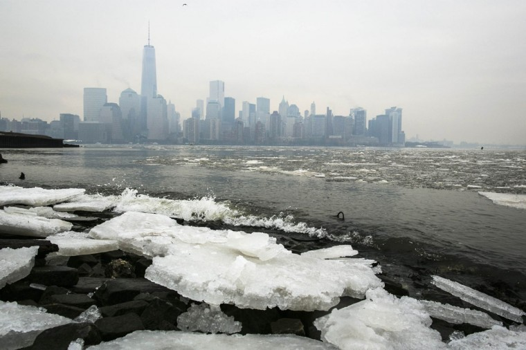 Ice lines the shoreline of the Hudson River as the New York City skyline is seen from Jersey City, New Jersey January 10, 2014. (REUTERS/Brendan McDermid)