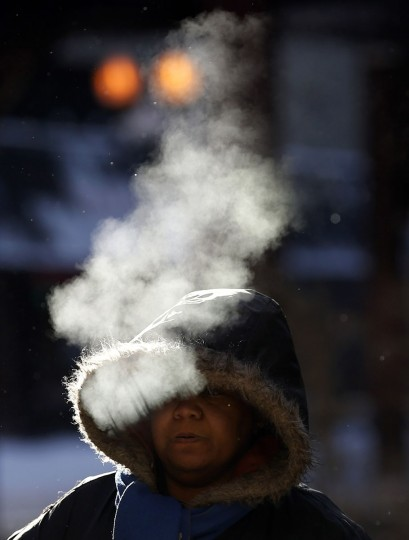 A woman walks in frigid cold temperatures though downtown Chicago. (REUTERS/Jim Young)