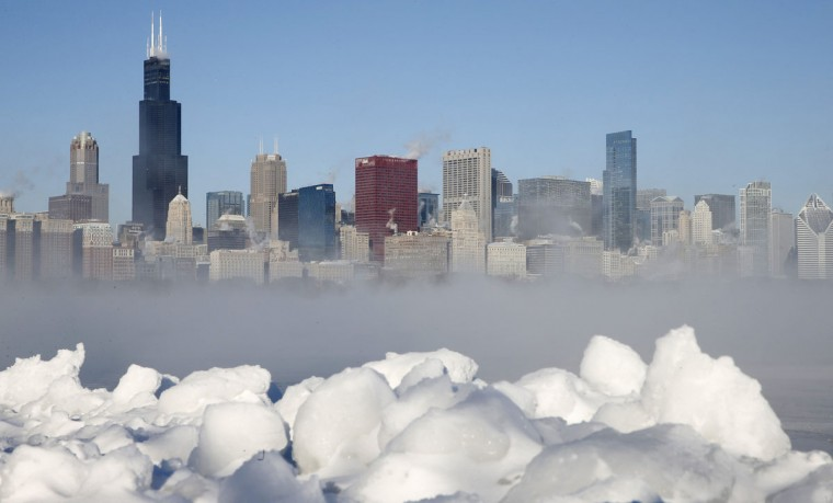 The Chicago skyline is seen beyond the arctic sea smoke rising off Lake Michigan. (REUTERS/Jim Young)