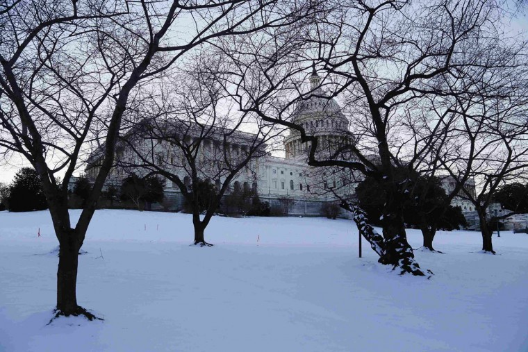 Snow covers the U.S. Capitol lawn in Washington January 22, 2014. The northeastern United States on Wednesday dug out from a storm that dumped over a foot of snow in many places with frigid, windy weather keeping some schools and offices closed and flights canceled. (REUTERS/Jonathan Ernst)